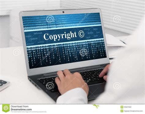 Laptop Computer With Copyright Message Stock Image - Image