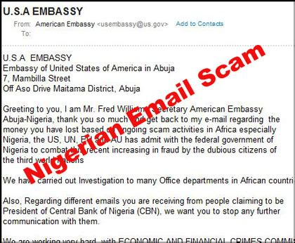 Beware of Nigerian Email Scam from Fred Williams   Email