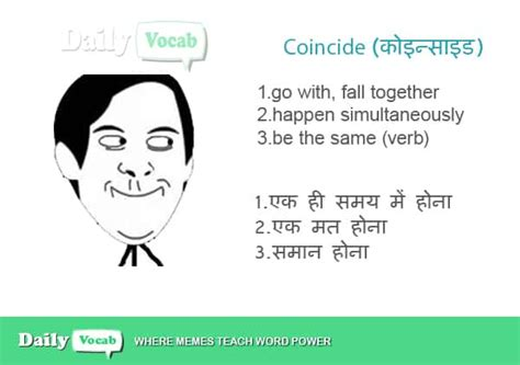 Coincide Meaning in Hindi, Coincide Meaning in English