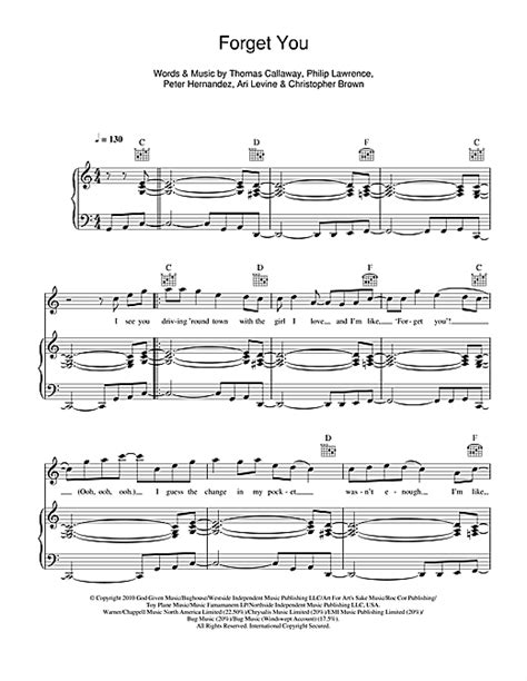 Forget You sheet music by Cee Lo Green (Piano, Vocal