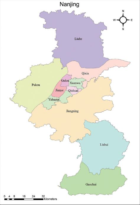Study area: Nanjing, China has 11 districts with