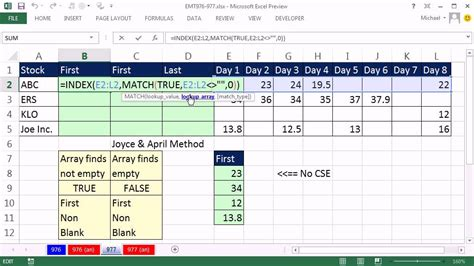 Excel Magic Trick 977: Lookup First Non Empty Cell In A