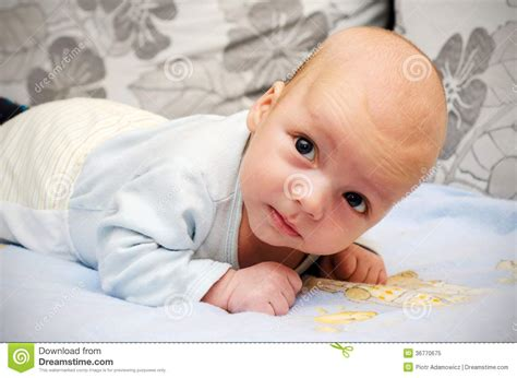 Little Baby Lifting Head Royalty Free Stock Photo - Image