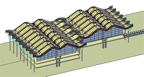 Terminal T4 At Madrid Airport — Roof Cover Schematic DWG