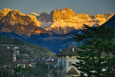 The Catinaccio / Rosengarten group seen at sunset from
