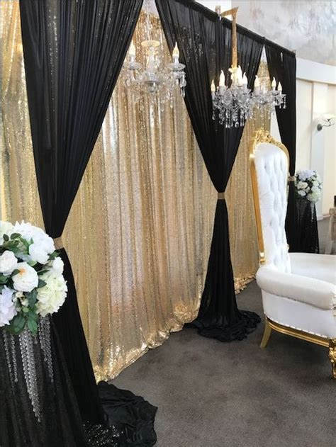 3D Bridal Table Backdrop Black and Gold 6m by 3m in 2020