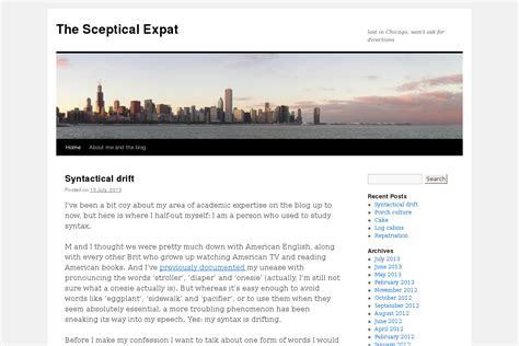 The Sceptical Expat, English in Chicago blog, American
