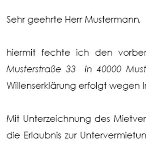 Anfechtung mietvertrag muster — download mietvertrag - die