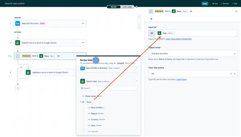Google Sheets' action - Update row   Workato Docs