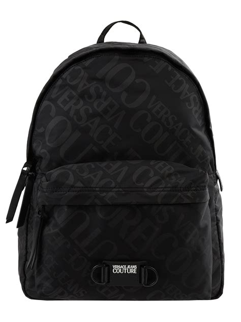 VERSACE JEANS COUTURE Rucksack mit Logo-Muster in Grau
